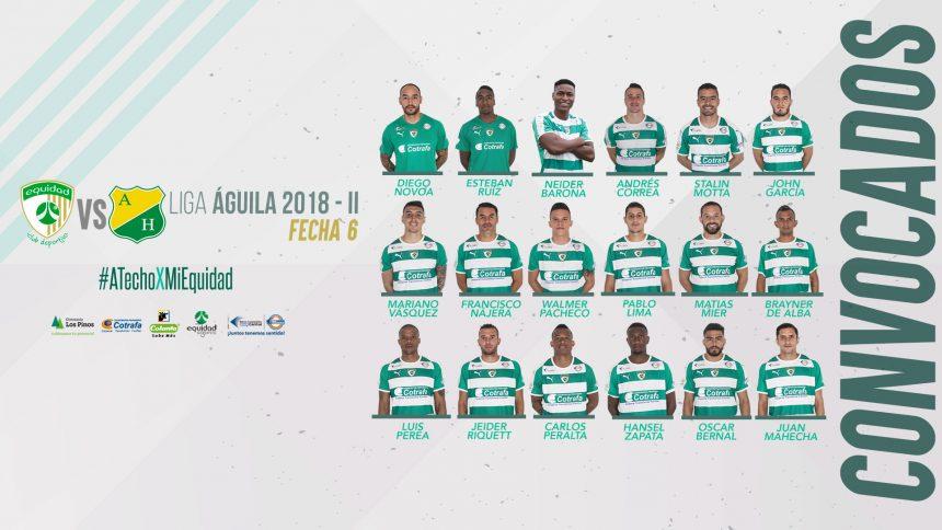 Convocados vs. Atlético Huila, Liga Águila 2018-II